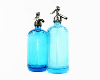 Vintage Seltzer Bottle: Blue