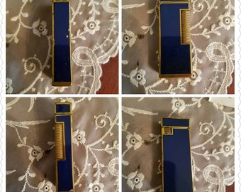 Vintage Flamex Lighter in the Original Box 1970s Blue Enamel Metal Original Paper Work Made in Japan
