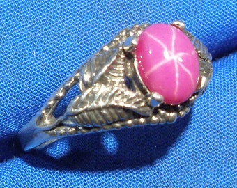 Fuchsia Pink Star Sapphire, Ruby, Leaf Ring, Hand Crafted Recycled Sterling Silver, lab grown