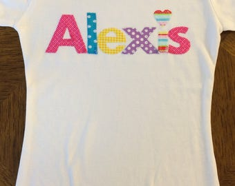 Name Shirt for Girl or Boy - Personalized Applique Name Shirt - Toddler Youth Sizes - You Choose Shirt Color and Fabric Theme