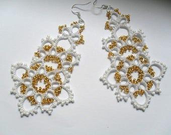 Tatted earrings - Long lace earrings - Dangle earrings - Chandelier earrings - Elegant earrings -  White earrings -Frivolite earrings-