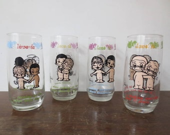 Vintage '70s LOVE IS... 4 Pc Set of Glasses, Kim Casali, 1975 Los Angeles Times