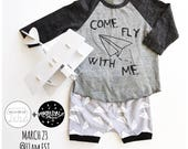 fly away with me outfit / paper airplane / so fly / hip kids SET / shorts and raglan