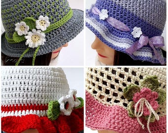 Spring/Summer hat Collection!! - Crochet hat patterns in child, teen and adult size. Easy and quick to make!