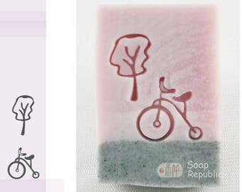 10% off ~ SoapRepublic Small Tree & Antique Bike  (2pcs) Acrylic Soap Stamp / Cookie Stamp / Clay Stamp