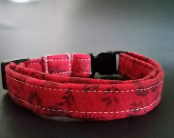 "small dog collar, dog collar, puppy collar, fits 9-13"" inch neck, 3/8"" collar, female collars, Girl collars, red collar, vintage fabric"