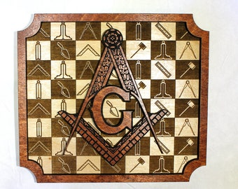 Masonic Plaque - Wood Engraved