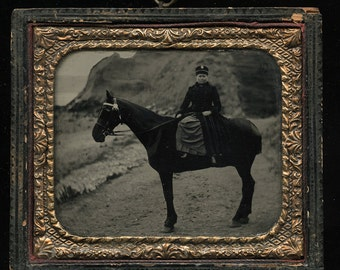 Woman on Horse 1/6 Ambrotype in Hanging Case - On Beach?