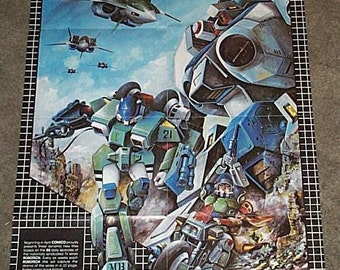 Vintage original 1985 Robotech 28 by 20 inch Comico Comics comic book store promotional promo poster 1: 1980's robots vs fighter jets pin-up