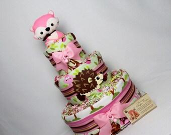 Baby Diaper Cakes Woodland Animals Pink Fox Topper Shower Gift Centerpiece