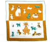 RETRO HANKIE Tammis Keefe Mid-Century Signed, Breeds of Cats Kitties Persian Tiger Siamese Mustard Aqua Hand Rolled Hem, Excellent Condition