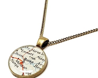 Boise Map Necklace. Boise Necklace. Made With A Real 1956 Vintage Map. Ready To Ship. Idaho Map Resin Pendant Jewelry. Gift For Mother's Day
