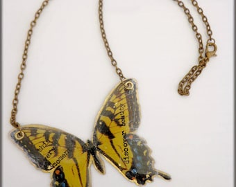 This Very Moment Butterfly Brass and Resin Pendant