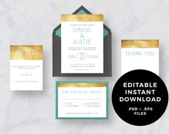 Instant Download: Gold Dipped Wedding Invitation Suite PSD + EPS editable files - DIY