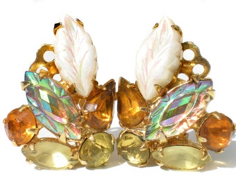 Yellow & Gold Rhinestone Clip Earrings Molded White Glass Leaves Iridescent Aurora Borealis Navette Golden Pear Cut - Vintage Jewelry