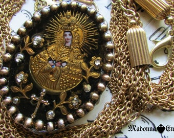 Madonna Enchanted necklace Russian icon reliquary multi strand chain religious Catholic one of a kind jewelry assemblage ex voto