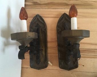 Rare gothic electic wall scones