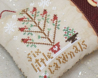 Completed Cross Stitch Christmas Tree Ornament - Six Little Cardinals