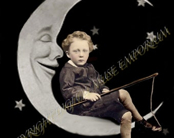 Fishing on the Paper Moon Instant Download Vintage Photo