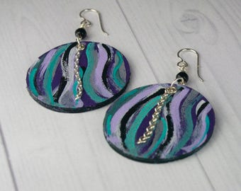 EARRINGS LEATHER BLACK with Handpainted Turquoise/Purple/White/Gray