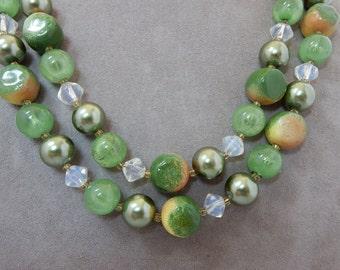 Chunky 2 Strand Yellow & Green Bead Necklace    OV27