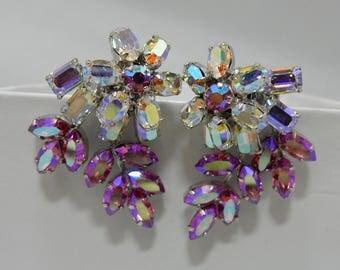 Austria Pink Aurora Borealis Leaf & Flower Rhinestone Clip On Earrings    OAE10