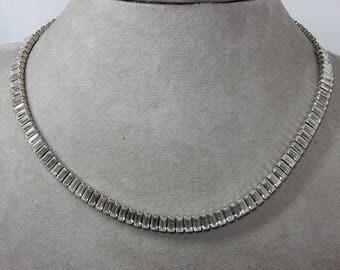 Vintage Clear Narrow Baguette Rhinestone Choker Necklace    OAH56