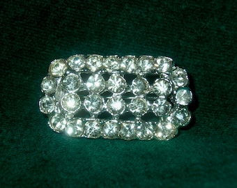 Vintage Clear Rhinestone Small Rectangle Brooch