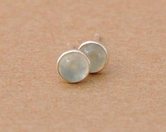 Prehnite Earrings with Sterling Silver Earring studs, 4mm
