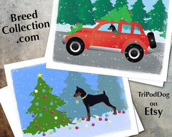 Miniature Pinscher Dog Christmas Cards from the Breed Collection - Digital Download  Printable