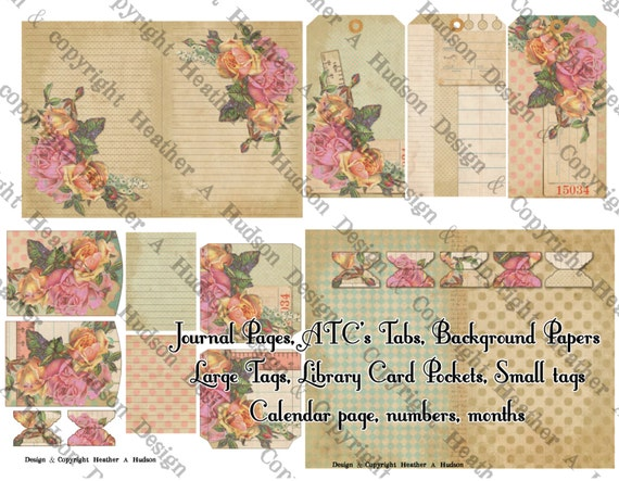 Vintage Chic Calendar Journal Book ATC Library Pocket Tabs Ephemera Printable 15 Digital Collage Sheets Victorian Papers Instant