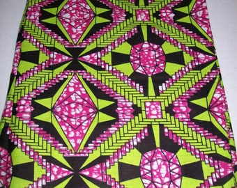 Pink and Lime Green Diamond African fabric per yard, Cotton Print African Fabric, African clothing, Unique Wax Print