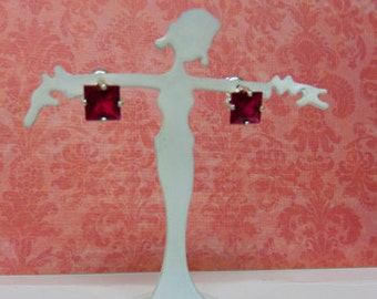 Ruby Earrings - 6mm Square Ruby Post Earrings - Princess Cut Ruby & Sterling Silver Posts