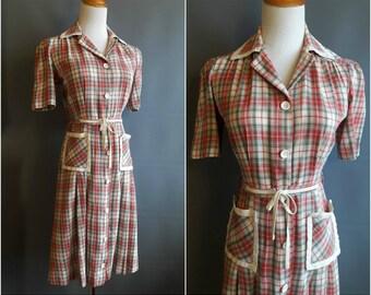 1930s-40s plaid day dress 30s day dress 1930s day dress art deco dress 1940s dress 40s day dress vintage plaid dress pockets medium size