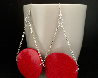 Vinyl red earrings, sliver plated chains, hot red earrings, sexy earrings, red earrings, unique gifts, red circular round earrings