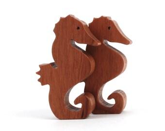 Wooden Seahorse Toys, Waldorf  Miniature Wood Noah's Ark Animals, Ocean Play Set, Hand Cut Scroll Saw