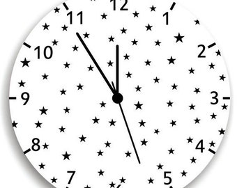 Black and White Stars WALL CLOCK -Stars Nursery room decor - Kids Bedroom Baby Nursery, Children wall art, Nursery wall hanging