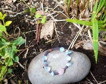 Moon inspired bracelet, opalite, Aquamarine and rose quartz bracelet - fairytale gems