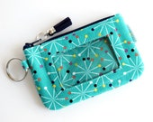 ID Holder Keychain Wallet - Womens Wallet - Credit Card Holder - ID Badge Holder - Zip ID Case - Slim Wallet - Coin Purse - Gift for Teen