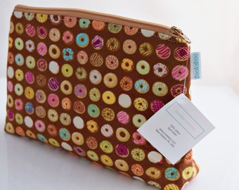 Donut Zipper Bag, Cosmetic Pouch, Gift for Her, Handmade, Ready to Ship, Zookaboo