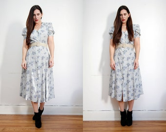 Vintage Floral Garden Tea Dress Grunge Revival 90s Maxi Dress