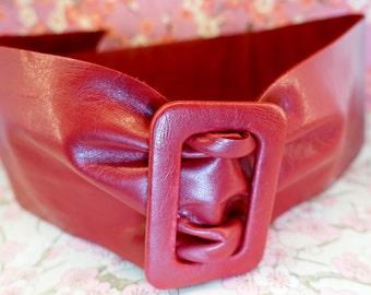 Vintage red polyester large belt, red large boho chic hipster belt, vintage chic 1950's belt