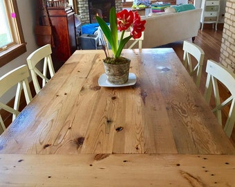 Barn Wood Rustic Dining Room Table Made From 1800s Reclaimed Minnesota