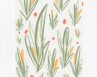 Scandinavian Modern Print // Mid Century Modern Art.  A5 Nature Plant Print