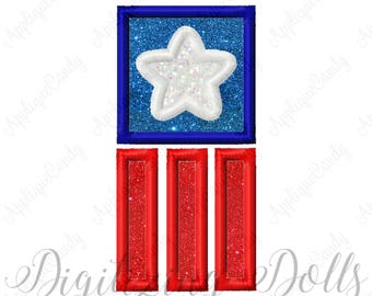 Flag Star Applique 2 Machine Embroidery Design 4x4 5x7 Independence Day 4th of July Patriotic INSTANT DOWNLOAD