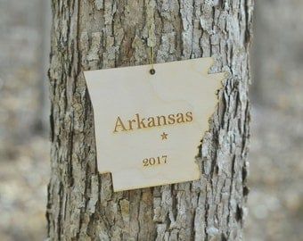 Natural Wood Arkansas State Ornament WITH 2017