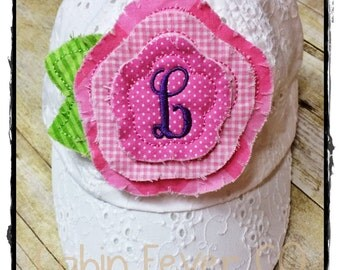 """TODDLER Baseball Cap - - -White Eyelet with Colorful Flower Patch and Initial, Cap size is ~20-1/2"""""""