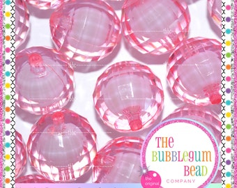 20mm PINK TRANSPARENT DISCO Bead, Bubblegum Bead, Chunky Bead, Gumball Bead, Acrylic Bead, Round Bead, Diy Supply, The Bubblegum Bead Co