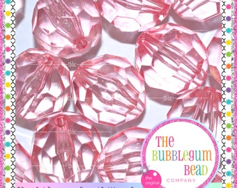 20mm PINK FACETED TRANSPARENT Bead, Bubblegum Bead, Chunky Bead, Gumball Bead, Acrylic Bead, Round Bead, Diy Supply, The Bubblegum Bead Co