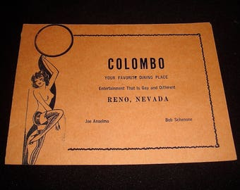 Vintage 1940s The Colombo Cafe Hotel Reno, Nevada Booklet Souvenir Photo Holder Pin Up Nude Cover